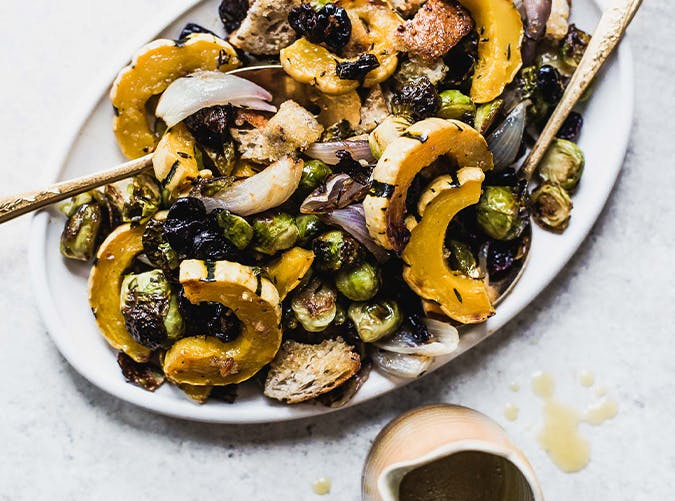 Sheet Pan Stuffing with Delicata Squash  Brussels Sprouts and Cherries vegetarian recipes
