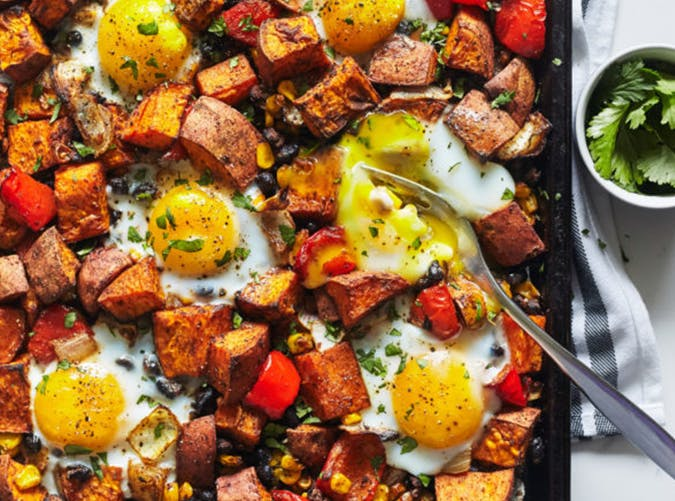 Sheet Pan Sweet Potato Hash with Eggs vegetarian recipes