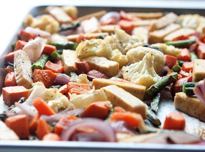 Sheet Pan Tofu and Veggie Dinner vegetarian sheet pan recipes