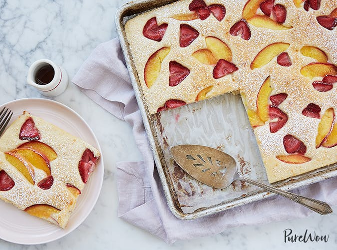 Sheet Tray Pancakes with Peaches and Strawberries vegetarian sheet pan recipes