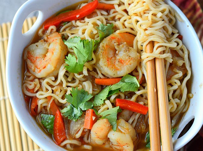 Spicy Shrimp Ramen Bowls recipe