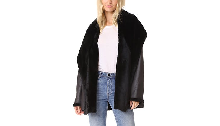 Vince black wrap reversible coat