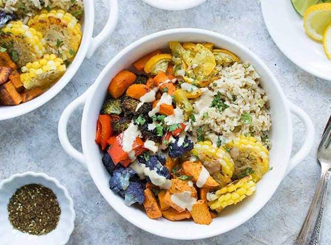 Za atar Spiced Veggie Sheet Pan Dinner with Tahini Miso Sauce vegetarian sheet pan recipes