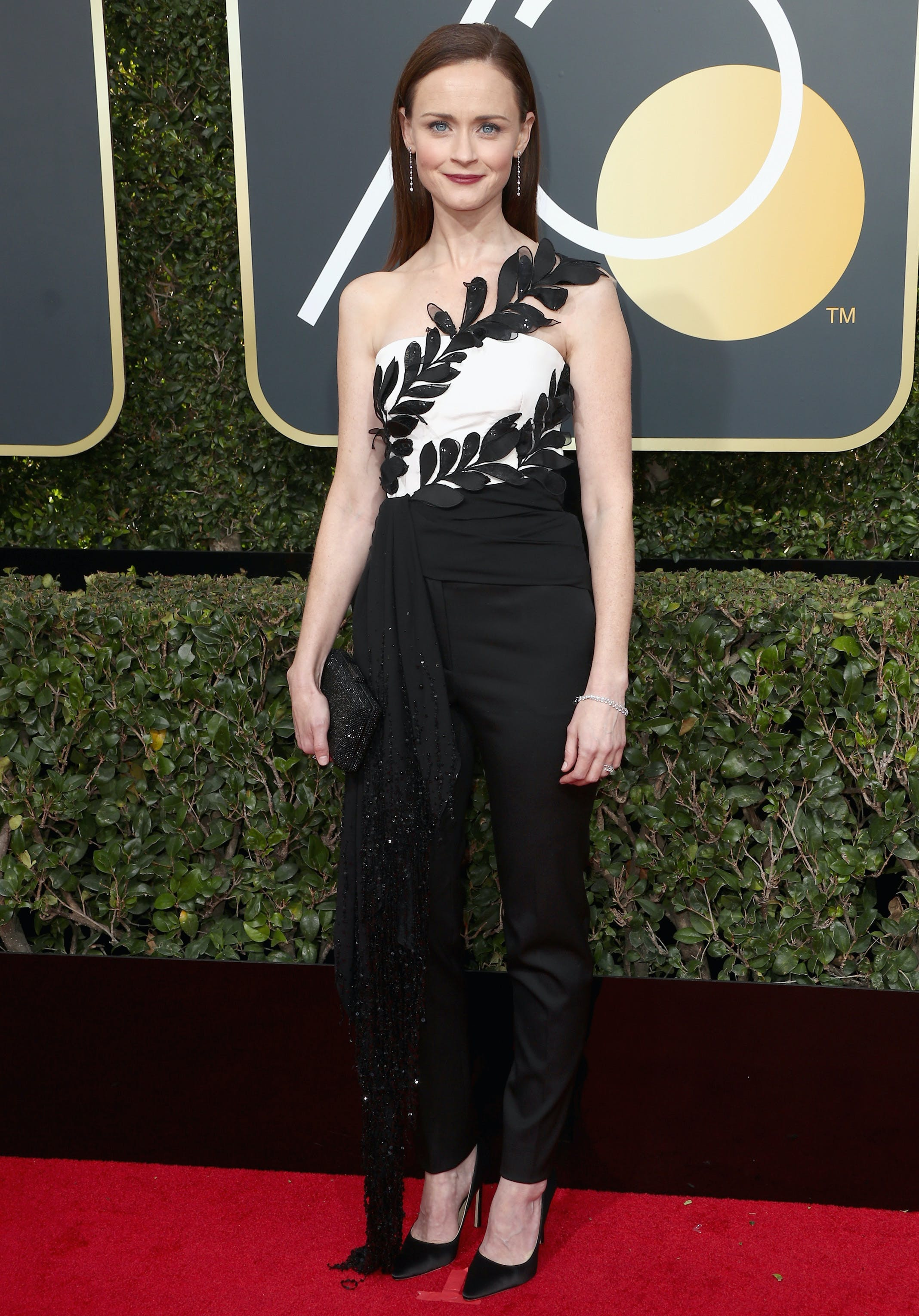 alexis bledel at the 2018 golden globes red carpet