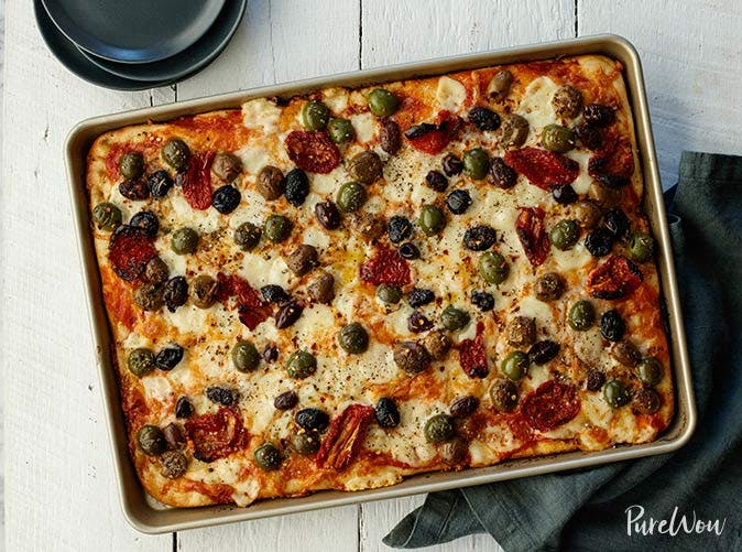 baking sheet pizza olives sun dried tomatoes