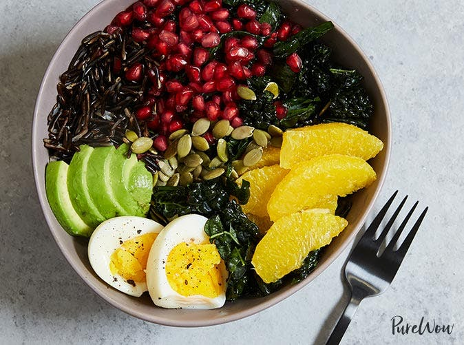 buddha bowl kale avocado orange wild rice
