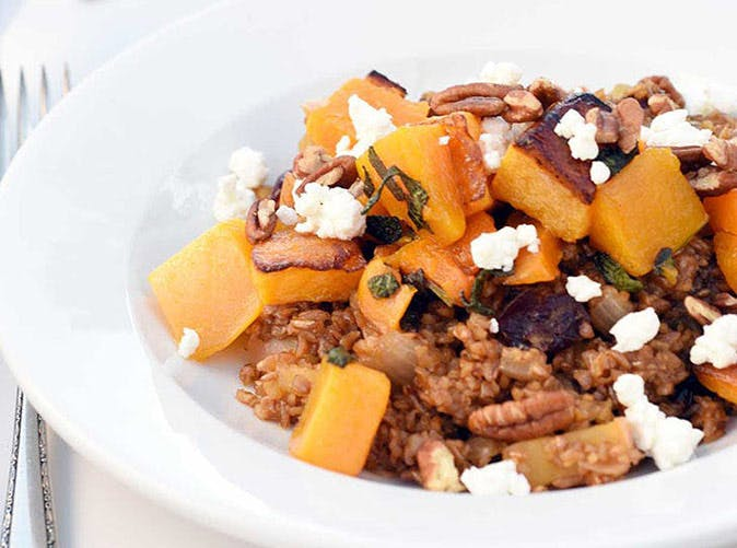 bulgur with roasted butternut squash sage goat cheese