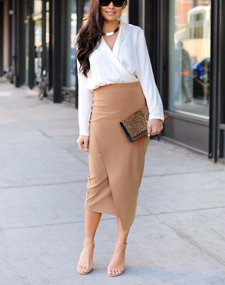 camel wrap pencil skirt