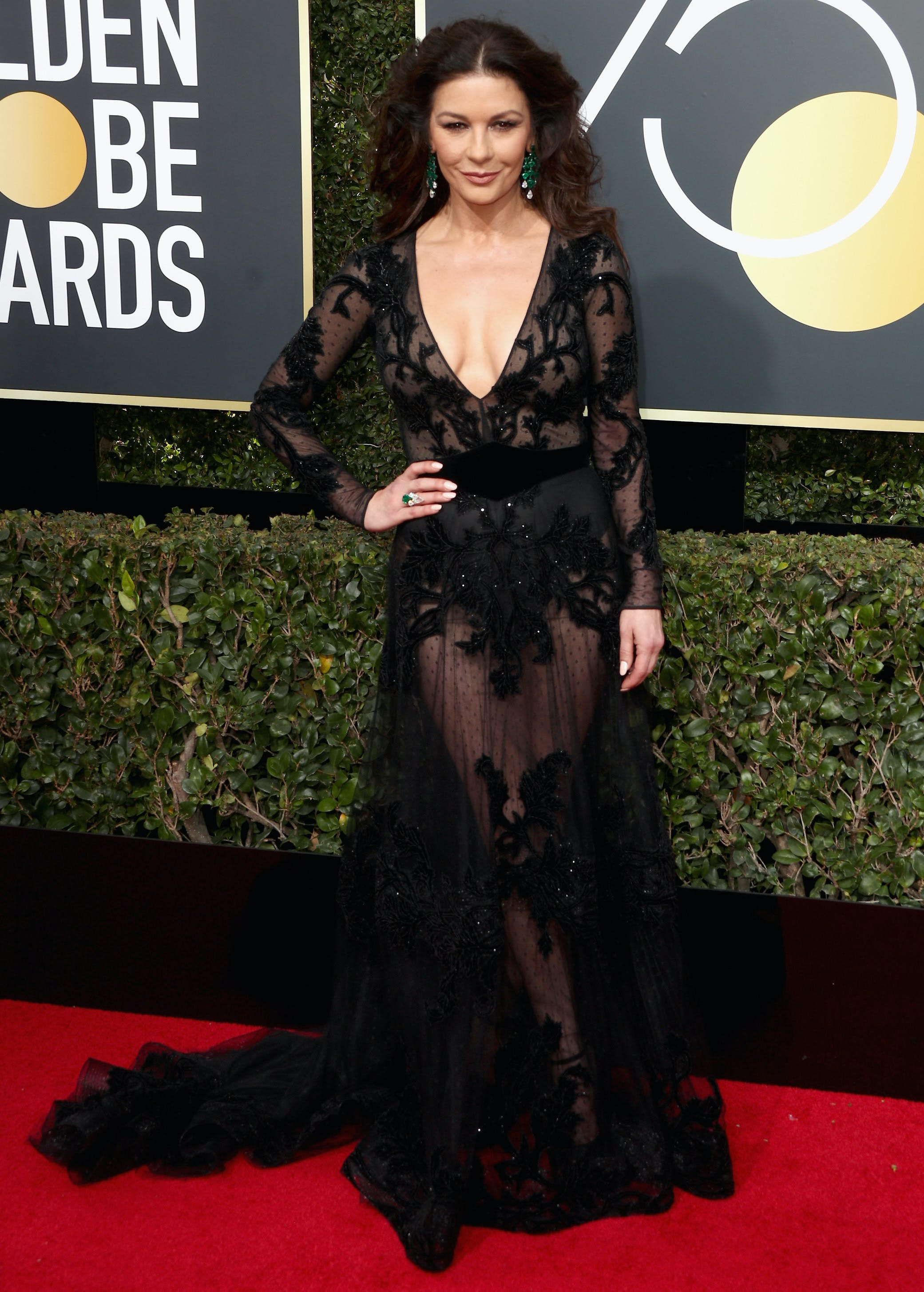catherine zeta jones 2018 golden globes red carpet
