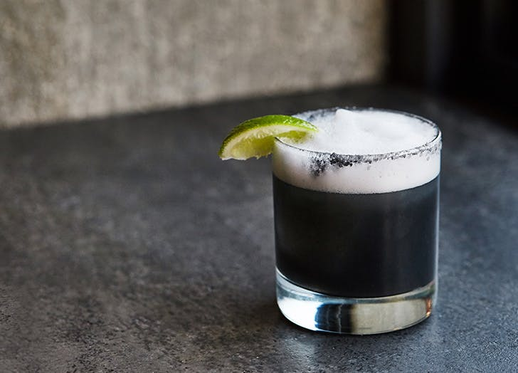 charcoal midnight margarita cocktail