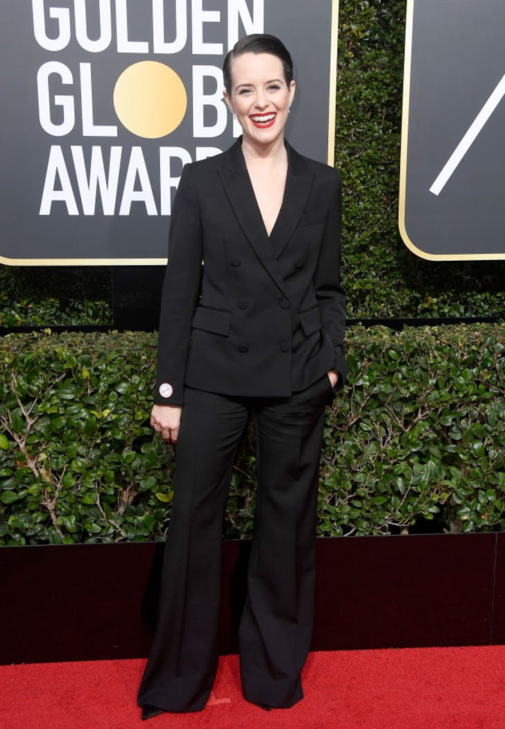 claire foy wearing pants golden globes