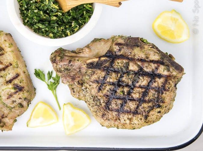 clean eating garlic herb pork chop with gremolata recipe
