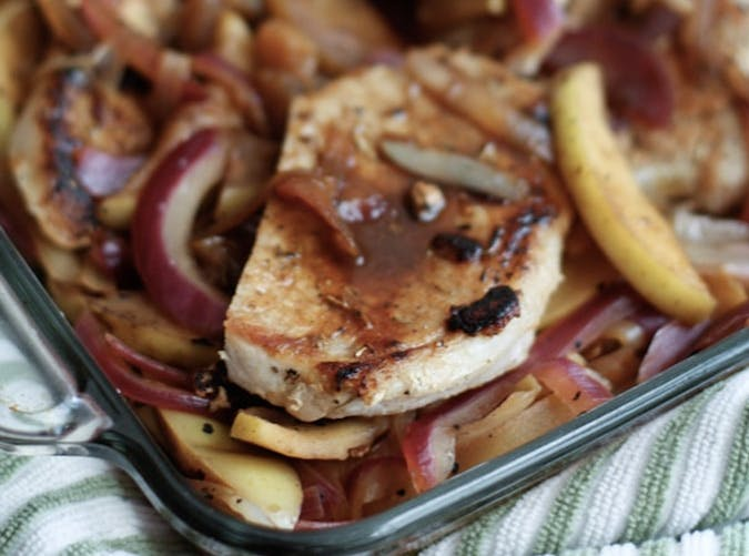 clean eating hard cider pork chops with apple and onion recipe