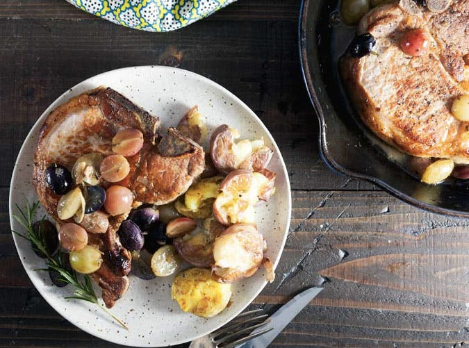 clean eating pan roasted pork chops with grapes recipe