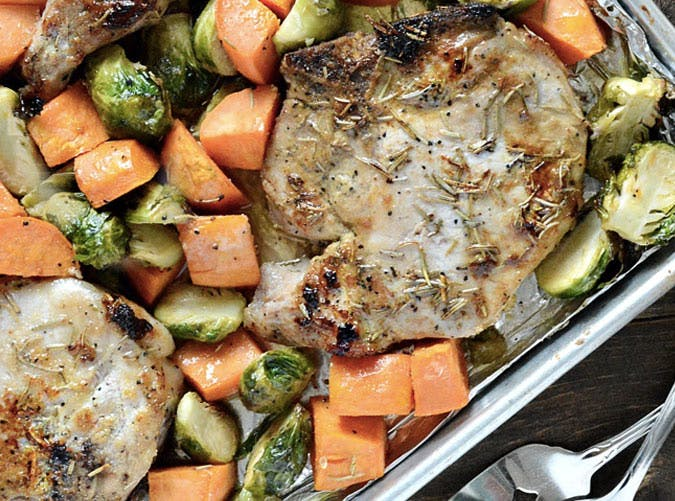 clean eating sheet pan maple dijon pork chops recipe