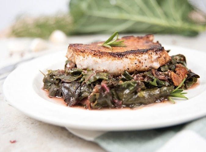 clean eating stovetop pork chops wilted chard recipe