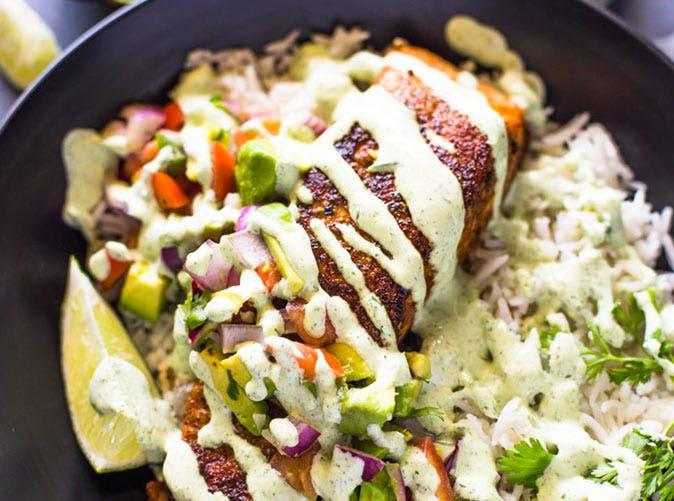 crispy salmon and avocado salsa bowls cilantro sauce