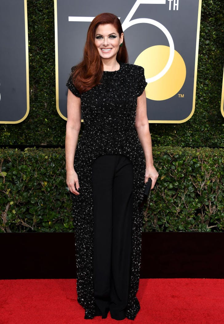 debra messing wearing pants golden globes