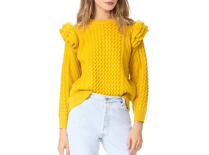 demylee ruffled sleeve sweater