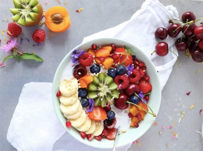 easy coconut milk oatmeal with fruits