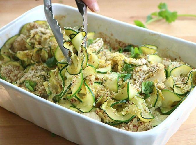 easy keto creamy chicken zoodle casserole