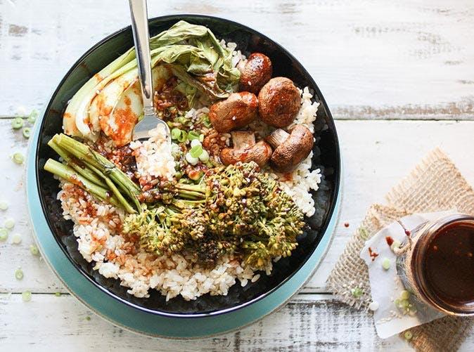 easy teriyaki rice bowl roasted vegetables