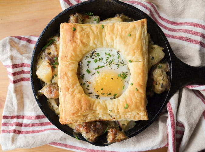 egg in a hole skillet breakfast recipe