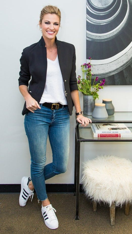 erin andrews wears tailor blazer with jeans and tshirt cropped