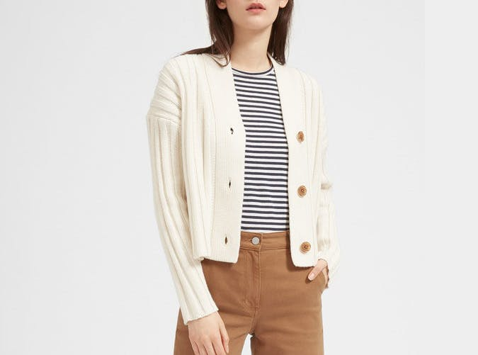 everlane ribbed cardigan