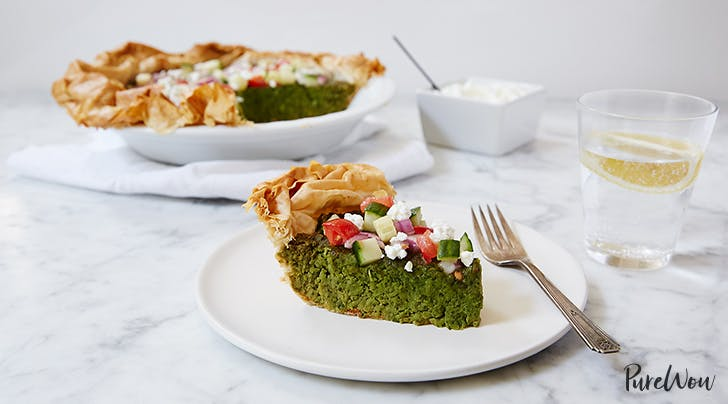 Falafel Pie with Cucumber-Tomato Salad