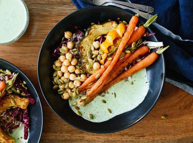 farmers market bowl green goddess sauce