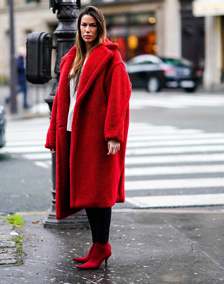 february outfits red coat
