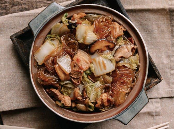 gluten free braised Glass noodles pork cabbage