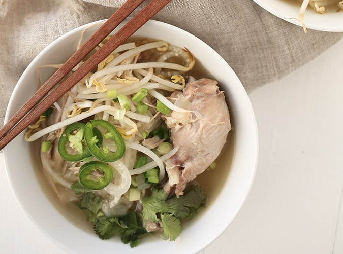 gluten free chicken pho with daikon noodles recipe
