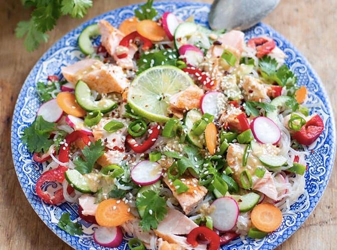 gluten free salmon shirataki noodle salad recipe
