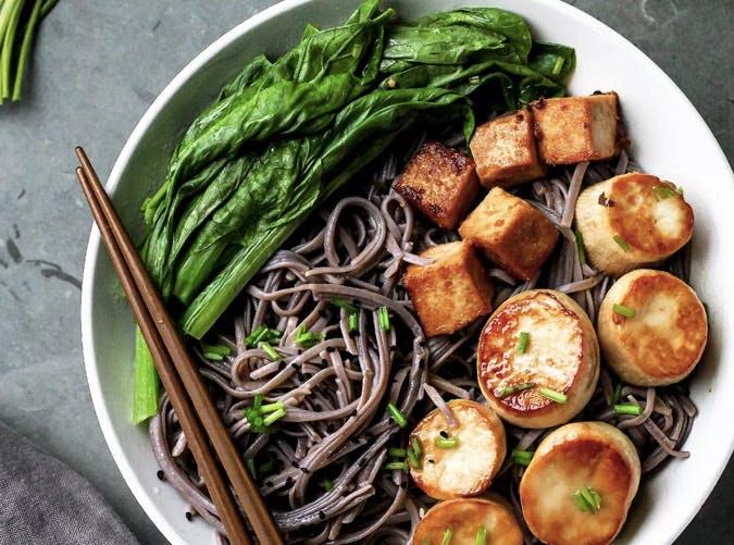 gluten free soba scallop bowl recipe