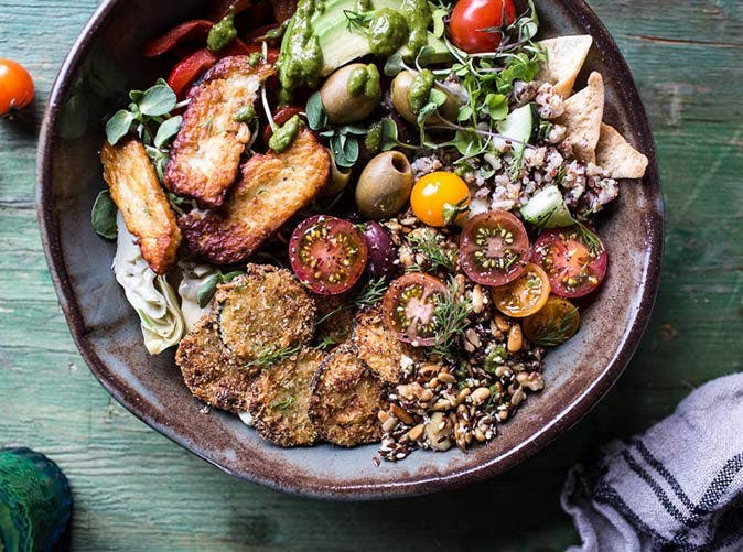 greek goddess grain bowl fried halloumi slide