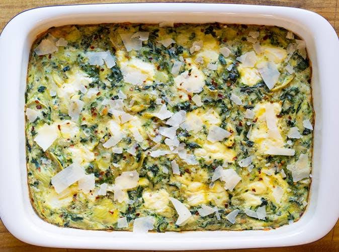 keto artichoke egg casserole