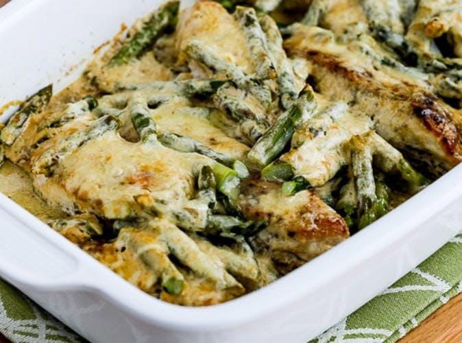 keto chicken asparagus three cheese casserole