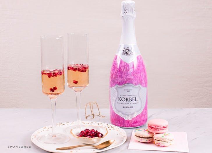 korbel wedding champagne flutes integration