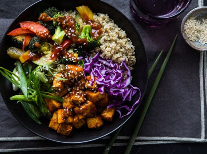 korean barbecue tofu bowls stir fried veggies quinoa