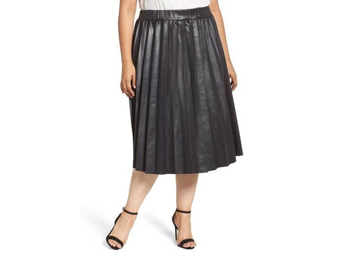 lost ink coated pleated leather skirt