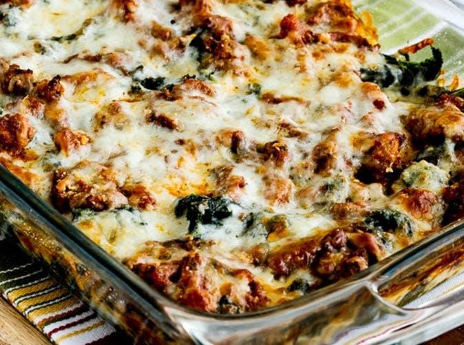 low carb keto sausage kale mock lasagna casserole