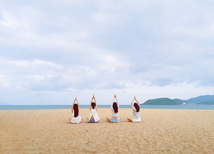 meditation on a beach