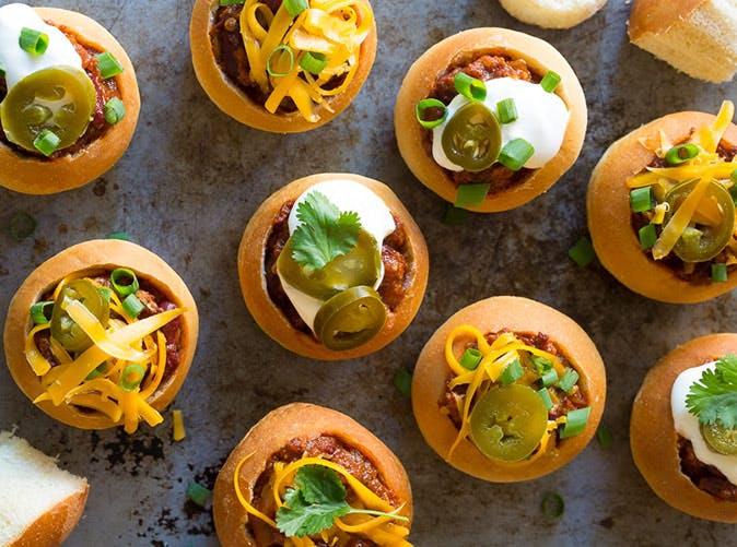mini chorizo chili bread bowls