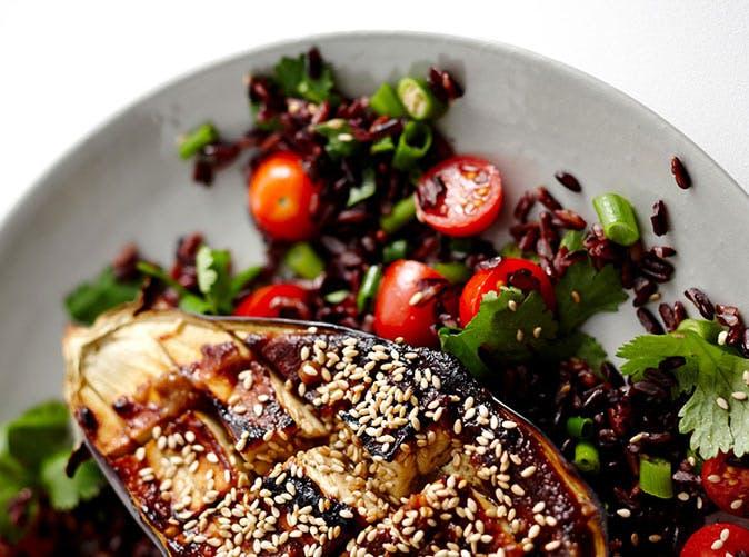 miso baked eggplant black rice salad