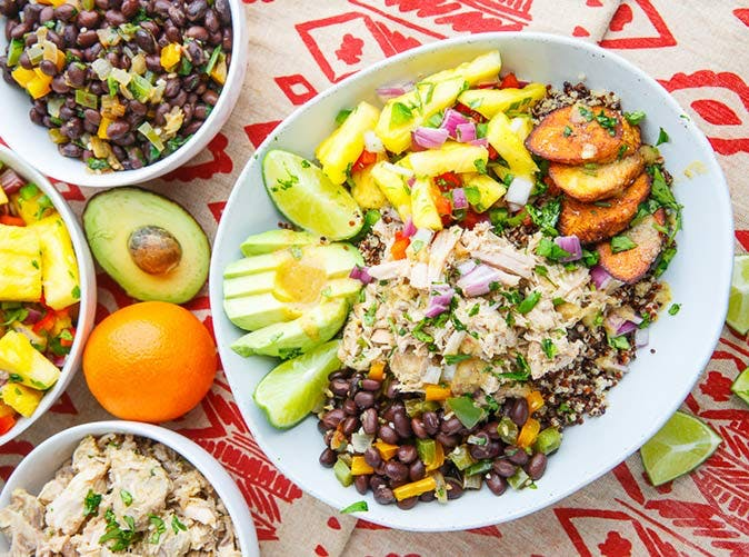 mojo pulled pork quinoa bowls pineapple salsa