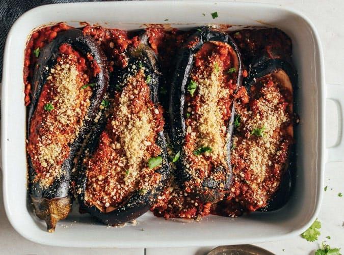 moroccan lentil stuffed eggplant recipe