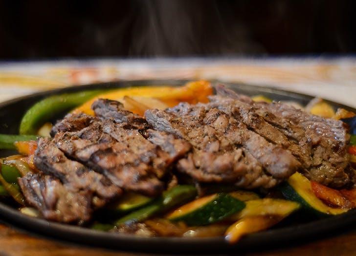 plate of steak fajitas