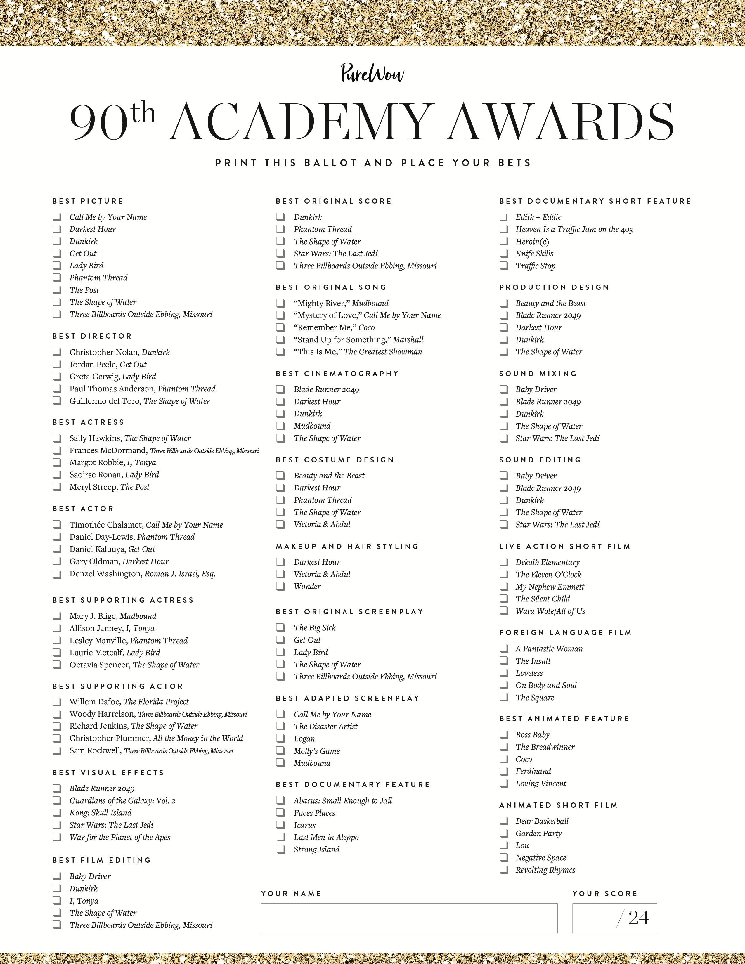 It is a picture of Nifty Oscars Printable Ballots